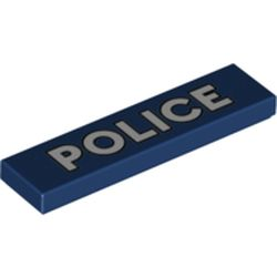 LEGO part 72186 Tile 1 x 4 with Groove and White 'POLICE' Print in Earth Blue/ Dark Blue