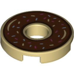 LEGO part 72189 Tile 2 x 2 Round with Hole and Donut with Brown Icing Print in Brick Yellow/ Tan