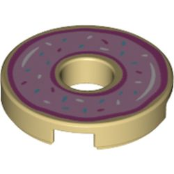 LEGO part 72190 Tile 2 x 2 Round with Hole and Donut with Pink Icing Print in Brick Yellow/ Tan