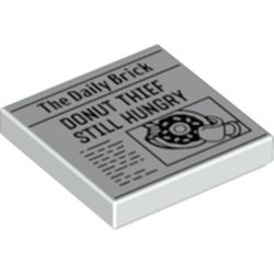 LEGO part 72191 Tile 2 x 2 with Groove with Newspaper with 'The Daily Brick' and 'DONUT THIEF STILL HUNGRY' Print in White