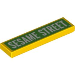 LEGO part 72216 Tile 1 x 4 with Green Field, White 'Sesame Street' print in Bright Yellow/ Yellow
