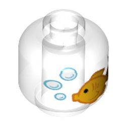 LEGO part 72221 Minifig Head with Gold Fish / Fish Bowl print in Transparent/ Trans-Clear