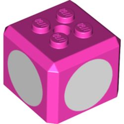 LEGO part 72280 Brick Special Cube with 2 x 2 Studs on Top, and White Circles Print in Bright Purple/ Dark Pink