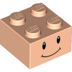 LEGO part 72281 Brick 2 x 2 with Black Eyes and Smile Print in Light Nougat