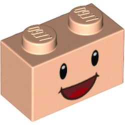 LEGO part 72282 Brick 1 x 2 with Black Eyes and Open Mouth Smile Print in Light Nougat