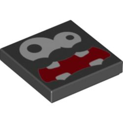 LEGO part 72288 Tile 2 x 2 with Groove with Fuzzy Face Print in Black