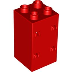 LEGO part 69714 Duplo Building Wall 2 x 2 x 3 with Four Hinges in Bright Red/ Red