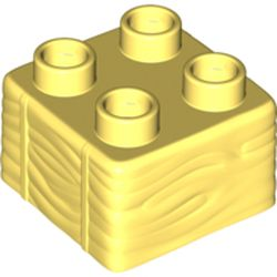 LEGO part 69716 Duplo Brick 2 x 2, Hay Bale Pattern in Cool Yellow/ Bright Light Yellow