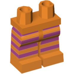 LEGO part 72346 Legs and Hips Dark Purple Stripes (Big Bird) in Bright Orange/ Orange