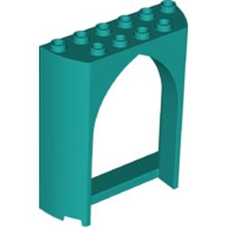 LEGO part 35565 Panel 2 x 6 x 6 with Gothic Arch in Bright Bluish Green/ Dark Turquoise