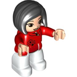 LEGO part 69840 Duplo Figure with Straight Hair with Left Parting Black, White Legs, Collar and Flower Print in Bright Red/ Red