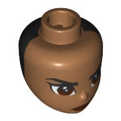 LEGO part 11816pr0226 Minidoll Head with Reddish Brwon, Stern Eyes, Black Backside print in Medium Nougat