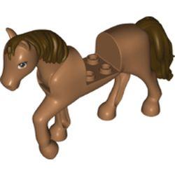 LEGO part 76950pr0002 Animal, Horse with Raised Leg, Dark Brown Mane and Tail print in Medium Nougat