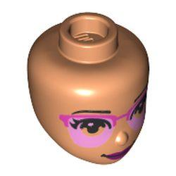 LEGO part 72451 Minidoll Head Bright Light Pink/Dark Pink Glasses, Dark Purple Lips print in Nougat