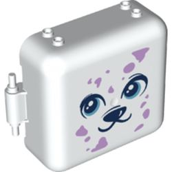 LEGO part 72456 Pod, Square 3 x 8 x 6 2/3 [Male] with Dark Blue Puppy Face, Lavender Spots print in White