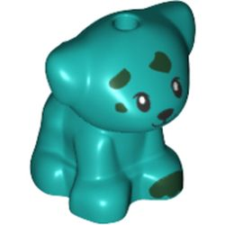 LEGO part 72459 Animal, Dog Pup with Dark Green Spots print in Bright Bluish Green/ Dark Turquoise