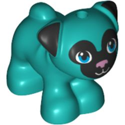 LEGO part 72464 Animal, Dog, Pug - Standing with Blue Eyes, Black Face and Ears, and Pink Nose Print in Bright Bluish Green/ Dark Turquoise