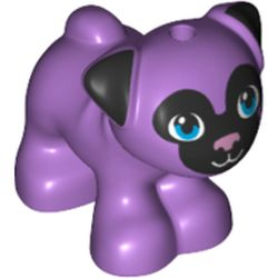 LEGO part 72482 Animal, Dog, Pug - Standing with Blue Eyes, Black Face and Ears, and Pink Nose Print in Medium Lavender