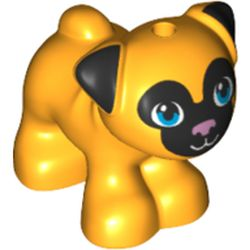 LEGO part 72487 Animal, Dog, Pug - Standing with Blue Eyes, Black Face and Ears, and Pink Nose Print in Flame Yellowish Orange/ Bright Light Orange