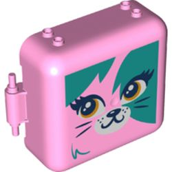 LEGO part 72508 Pod, Square 3 x 8 x 6 2/3 [Male] with Dark Turquoise Cat print in Light Purple/ Bright Pink