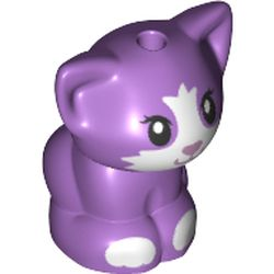 LEGO part 72558 Animal, Cat, Kitten Sitting with Medium Lavender Nose, White CFaceest and Paws print in Medium Lavender