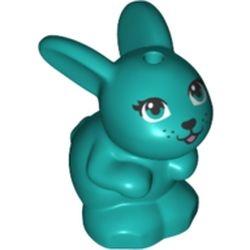 LEGO part 72584 Animal, Rabbit / Bunny, Baby Sitting with Blue Eyes and Black Nose Print in Bright Bluish Green/ Dark Turquoise