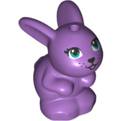 LEGO part 72585 Animal, Rabbit / Bunny, Baby Sitting with Blue Eyes and Black Nose Print in Medium Lavender