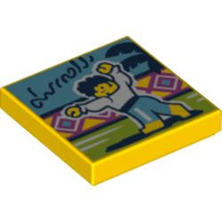 LEGO part 3068bpr0474 Tile 2 x 2 with Latin Dance print in Bright Yellow/ Yellow