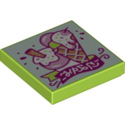 LEGO part 3068bpr0472 Tile 2 x 2 with Groove, Ice Cream World Print in Bright Yellowish Green/ Lime