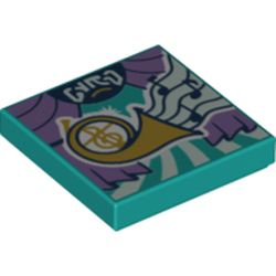 LEGO part 3068bpr0473 Tile 2 x 2 with Groove, Theater Style Print in Bright Bluish Green/ Dark Turquoise