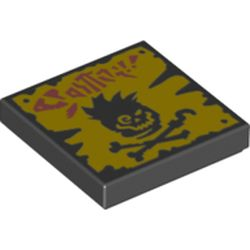 LEGO part 3068bpr0468 Tile 2 x 2 with Groove, Grunge Filter Print in Black
