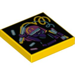 LEGO part 3068bpr0462 Tile 2 x 2 with Groove, Glow Stick Dance Print in Bright Yellow/ Yellow