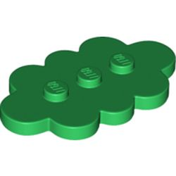 LEGO part 35470 Plate Special 3 x 5 Cloud with 3 Center Studs in Dark Green/ Green