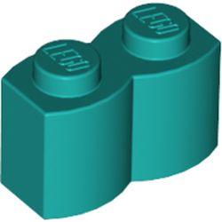 LEGO part 30136 Brick Special 1 x 2 Palisade [aka Log] in Bright Bluish Green/ Dark Turquoise