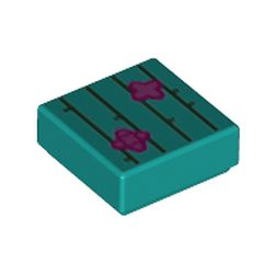 LEGO part 3070bpr0241 Tile 1 x 1 with Cactus print in Bright Bluish Green/ Dark Turquoise