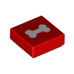 LEGO part 3070bpr0248 Tile 1 x 1 with White Bone print in Bright Red/ Red