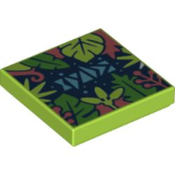 LEGO part 3068bpr0465 Tile 2 x 2 with Groove, Tropical Plants Print in Bright Yellowish Green/ Lime