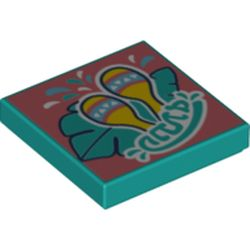 LEGO part 3068bpr0464 Tile 2 x 2 with Groove, Samba Style Print in Bright Bluish Green/ Dark Turquoise