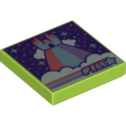 LEGO part 3068bpr0466 Tile 2 x 2 with Groove, Rainbow World Print in Bright Yellowish Green/ Lime