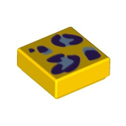 LEGO part 3070bpr0249 Tile 1 x 1 with Purple Leopard Dots print in Bright Yellow/ Yellow