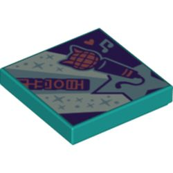 LEGO part 3068bpr0467 Tile 2 x 2 with Groove, Synth Pop Style Print in Bright Bluish Green/ Dark Turquoise