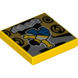 LEGO part 3068bpr0470 Tile 2 x 2 with Groove, Breakdance Print in Bright Yellow/ Yellow