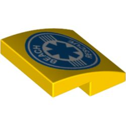LEGO part 73122 Slope Curved 2 x 2 x 2/3 with Star of Life and 'Beach Rescue' Print in Bright Yellow/ Yellow