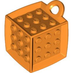 LEGO part 69182 Die - 6 Sided with 3 x 3 Centre Studs, and Ring (DOTS) in Bright Orange/ Orange