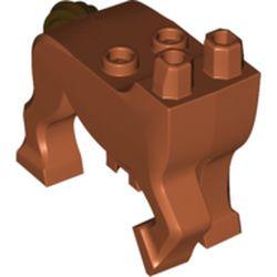 LEGO part  Creature Body Part, Centaur Torso and Legs with Dark Brown Tail print in Dark Orange
