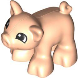 LEGO part 73318pr0001 Duplo Animal Pig, Short, Semi-Circular Print in Light Nougat