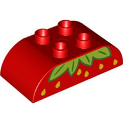LEGO part 98223pr9996 Duplo Brick 2 x 4 Curved Top with Strawberry Print in Bright Red/ Red