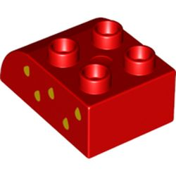 LEGO part 2302pr0018 Duplo Brick 2 x 3 x 2 with Curved Top with Yellow Raindrops (Strawberry Seeds) On Left Print in Bright Red/ Red