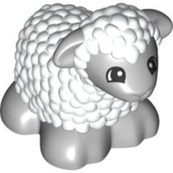 LEGO part 73381pr0001 Duplo Animal Sheep / Lamb with Light Bluish Gray Legs and Head in White
