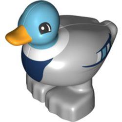 LEGO part 19011pr0003 Duplo Animal Duck with Bright Light Orange Bill, Medium Azure Head and Feathers, Dark Blue Chest in Medium Stone Grey/ Light Bluish Gray